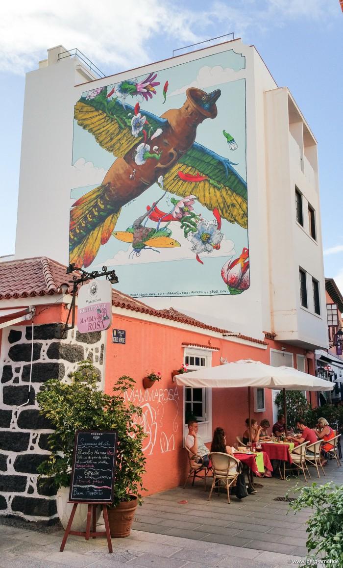 Puerto Street Art: Wandmalerei an der Calle del Lomo