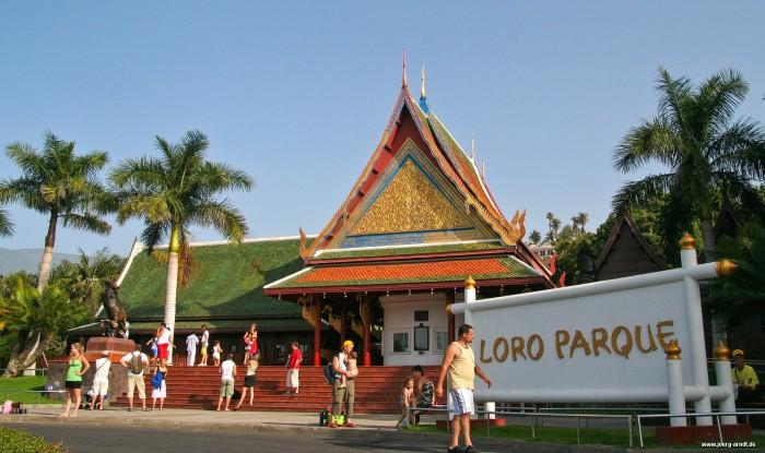 Der Eingangsbereich des Loro Parque ist einem Thai-Dorf nachempfunden.